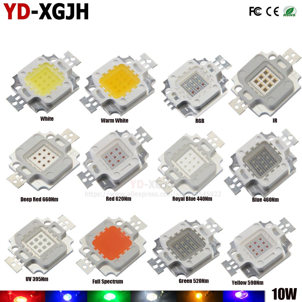 1W 3W 10W LED Component Grow Light Aquarium red green royal blue UV white on PCB