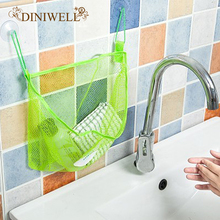 DINIWELL Polyester Transparent Cartoon Bathroom Sucker Hanging Storage Mesh Bag Toys Cosmetics Organizer(China)