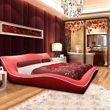 modern design Bed artificial leather wood bedroom furniture  200 x 180cm red and black