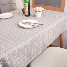 LFH Waterproof Cloths100CMx140CM Non-woven Cotton Modern Simple Gray Plaid Lattice Tablecloth Home And Hotel Party Tablecloths(China)