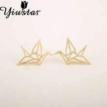 Yiustar Earring New Fashion Trendy Gold Silver Pink Origami Crane Animal Stud Earrings for Women Copper Alloy Jewelry ED037