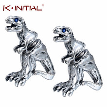 Kinitial 1Pair 3D Hot Dinosaur Stud Earring Two Part Front Back Dangle Animal T-REX Earrings For Women Joyeria Nice Earrings