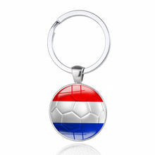 100pcs Netherlands World Cup Football Keychain Nederland Flag Soccer Club Fans Keyring Men Car Key Chains Souvenir Gift 2018(China)