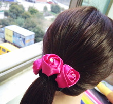 Free Shipping Women's Disk hair with Flower girl's chiffon rose hairstyle hairpins girl's lovely hair Accessories