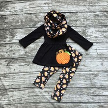 hot sell FALL/Winter Halloween pumpkin  3 pieces scarf black orange pant sets girls print boutique clothes kids  top sets