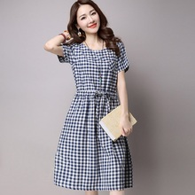 OLGITUIM 2017 Fashion Summer Dresses Cotton Linen Elegant Plaid A Line Vestidos With Sashes O Neck Casual Short Cute Dress B361