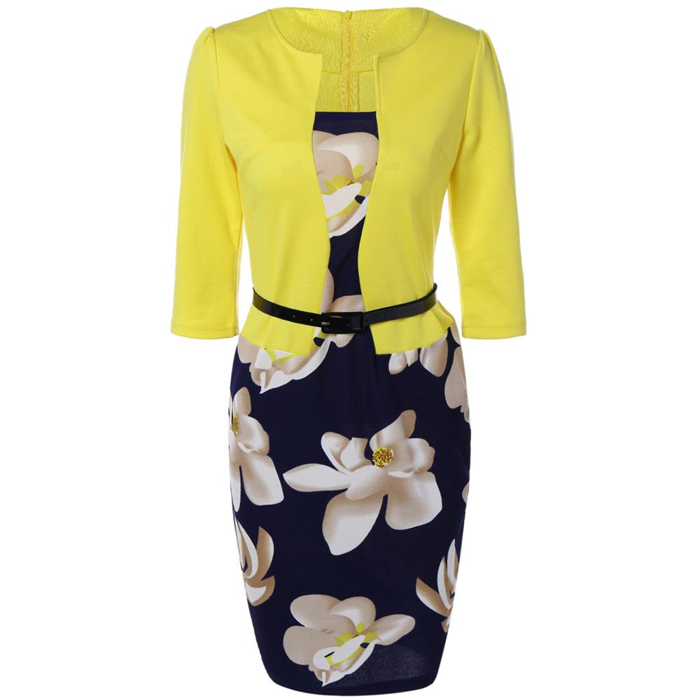 VESTLINDA Pencil Office Dress 5 Colors Plus Size Jacket Look Floral Print Women Vestidos Mujer Jurken Robe Slim Bodycon Dresses 20