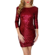 Summer Dress Women O Neck Long Sleeve Paillette Sequins Backless Bodycon Slim Pencil Party Dresses Hot Selling