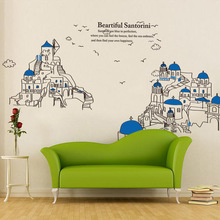 New Foreign Trade Explosion Models Third Generation Santorini Santorini Island Landscape Shore FIG Wall Stickers