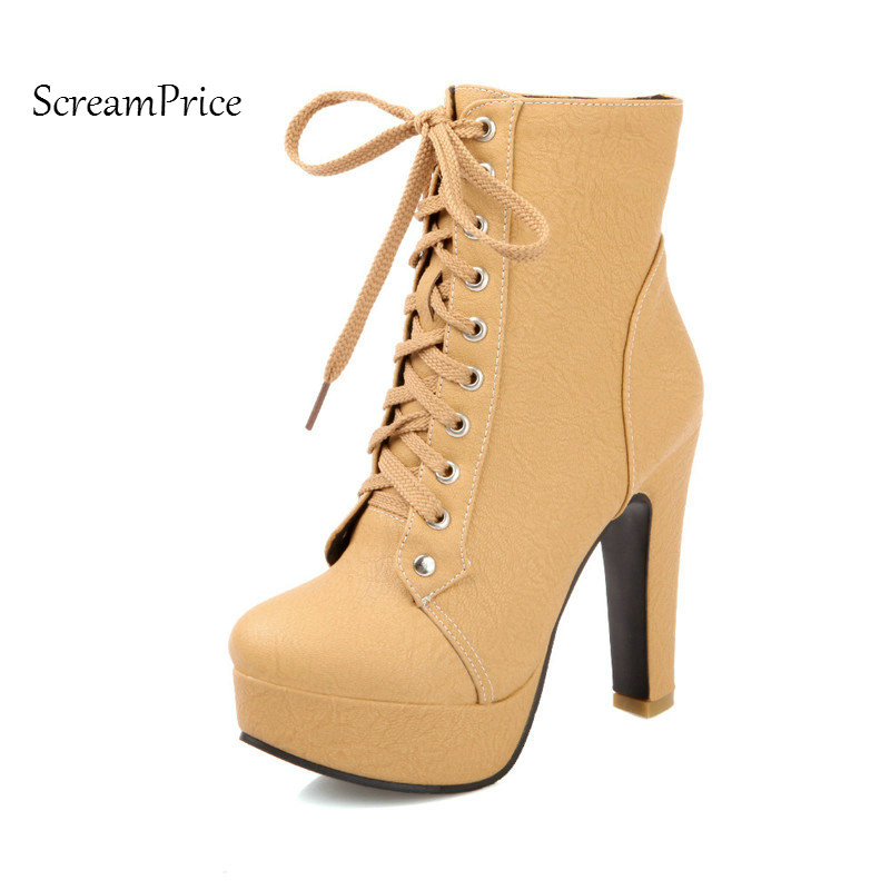 Women Platform Square High Heel Ankle Boots Fashion Lace Up Round Toe Shoes Woman Beige Black Brown Yellow<br>