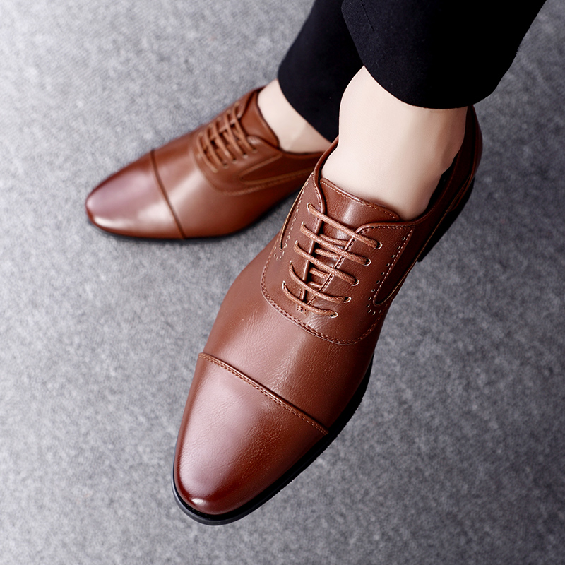 men spring working shoes luxury brand italian eurpean style pointed toe elegant male footwear dress working oxford shoes for men (20)