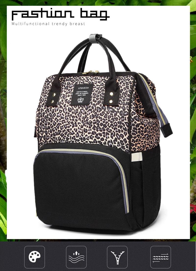Women Maternity Leopard Print Nappy Travel Outdoor Bag