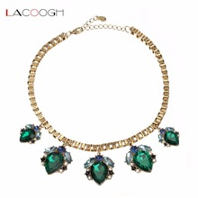 Lacoogh Luxury Shiny Simulated Emerald Necklace Gold Color Water Drop Green Statement Necklace bisuteria mujer collares F10014