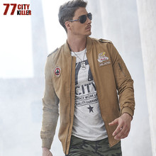 77City Killer Pilot Bomber Jacket Mandarin Collar Zipper Eagle Coat Men Jackets Plus Size Men's Coats Jaqueta Masculino J2717(China)