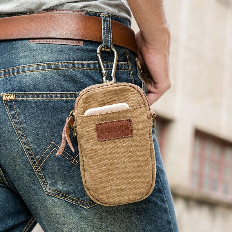 2016 fashion solid zipper canvas designer bags Hoop cellphone bag mens waist pack canvas wallets belt bag hook<br><br>Aliexpress
