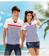 Summer style 2015 Fashion Brand Spouse shirts Milk silk fabric v neck striped consort /Family/Lovers clothes free shipping