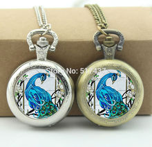 Blue Peacock Pocket Watch Bird Nature Jewelry Glass Cabochon Locket Necklace Vintage Pocket Watch Necklace