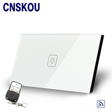 Cnskou US 1g1w wall light touch switch with controller 110v 220v white crystal glass panel wall switch remote light switch(China)