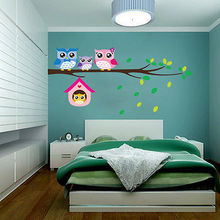 DIY removable Owl Birds Branch Vinyl Kids Home Decor Mural Wall Stickers Decal Branches four owl wall stickers