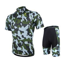 Men Cycling Jersey Sets Army Breathable MTB Bike Bicycle DH Short Sleeve Jersey Padded Shorts Set