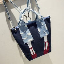 ICEV brand fashion high quality denim women panelled shoulder bag high heels design canvas messenger handbag casual big tote sac(China)