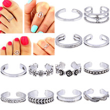 Women Lady Unique Adjustable Opening Finger Ring Retro Carved Toe Ring Foot Beach Foot Jewelry 12Pcs/set(China)