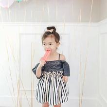 1T-4T 2017 Summer Kids Tutu Skirt Girl Party Baby Tutu Skirt Cotton Striped Print Sun Skirt Toddler Girls Pleated Umbrella Skirt