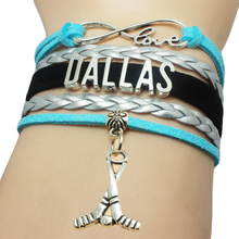 Infinity Love Dallas Hockey Charm Bracelet Braid Cuff Sports Fans Jewelry Basketball West Team Sports Bangle