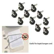 10pcs J-hooks Stainless Steel Screws with Lock Nuts for Kayak Bungee Cord Lashing Hook for Kayak Bungee Cord Kayak Accessories