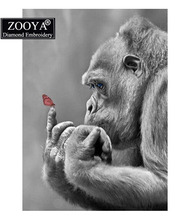"ZOOYA Full Square Diamond 5D DIY Diamond Painting ""Gorilla & Butterfly "" Embroidery Cross Stitch Rhinestone Mosaic Home Decor(China)"