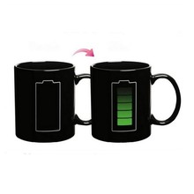 2017 the most popular Battery Magic Mug Positive Energy Color Changing Cup Ceramic Discoloration Coffee Tea Milk Mugs Novelty Gn(China)