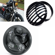 "Harley Moto 5.75 Headlight 5 3/4"" Black Aluminum Headlight Grill Cover For Harley Sportster 883 1200 5.75"" Headlamp Grill Cover"