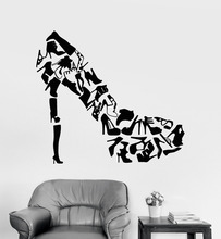 High heels Shoes Wall Art Stickers Living Room Creative Decor Footwear Women's Shoes Shop Fashion Wall Decals Vinyl Decal ZB261