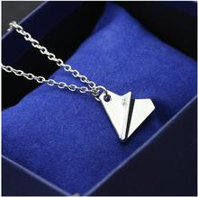 xl047 One Direction Airplane Paper Airplane Necklace Pendant Jewelry Men Women Gold Silver Fashion Jewelry Color Wholesale 2017