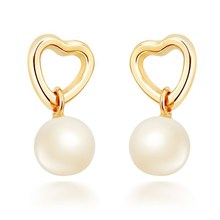 9K Yellow Gold Natural Freshwater Pearl Earrings  Heart Round Perfect Quality Fine Jewelry Valentine Gift pearl earring heart