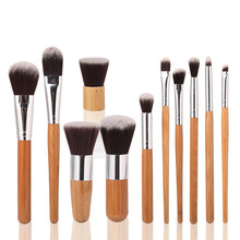Hot 11pcs/Set Bamboo Brush Set Handle Makeup Eyeshadow Foundation Concealer Cosmetic Makeup Brushes Set with Bag