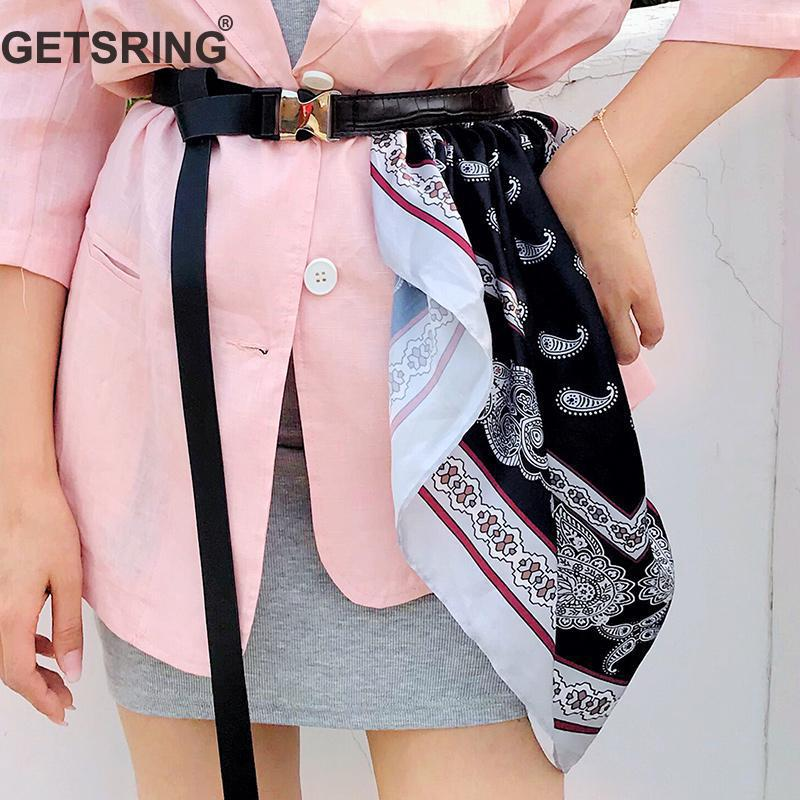 GETSRING Women Belt Print Silk Scarf Stitching Fashion Belt All Match PU Leather Woman Belts Fashion Ladies Accessories 2019 New