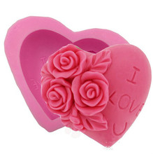 3D Silicone Fondant Cakes Mould Decorating Valentine's Day Rose Flower I LOVE YOU Loving Heart Shape Soap MK1786