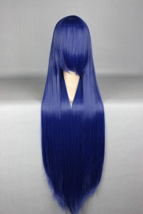 Synthetic Hair MCOSER Fashion 100cm Long Straight High Quality Synthetic Dark Blue Cosplay Carnival Wig 018P<br><br>Aliexpress