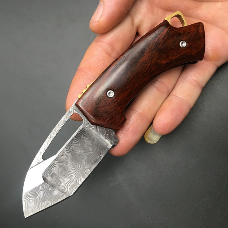 Browning Damascus Cocobolo Wide Pocket Knife Tactical Folding Knife Camping Survival Hunting Knife Hollow Blade width 3 cm 1976#<br><br>Aliexpress