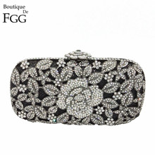 Metal Floral Appliques Women Hardcase Silver Crystal Evening Hollow Out Clutch Purse Wedding Party Banquet Handbags Clutches Bag