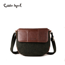 Cobbler Legend Saddle Women Genuine Leather Shoulder Bag Vintage Green Blended Fabric Crossbody Brand Designer Handbags For Lady(China)