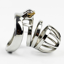 Buy Stainless Steel Male Chastity Belt Adult Cock Cage arc-shaped Cock Ring Sex Toys Small Men Chastity device