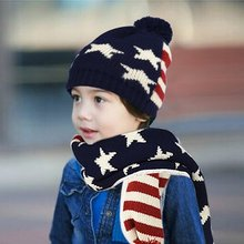 kids children Knitted Hat Scarf And Gloves 3 pcs winter set USA American flage design style(China)