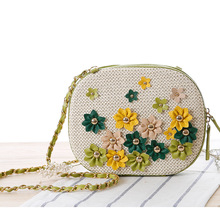 ZHIERNA 2017 Casual women handbags straw beach bag flower woman travel handbag summer Woven women's Shoulder Bags(China)