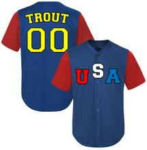 2017 New Customized USA TROUT Baseball Jersey Embroidery Stitched Blue Jersey Can do any number USA002