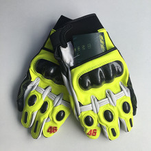 2017 high quality MJ MOTO GP Rossi gloves guantes para moto motorcycle gloves leather carbon VR46 real leather gloves with gift