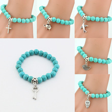LNRRABC Hot Women Lady Girl Trendy  Beads Cross Key Owl Elephant Stainless Steel Pendents Bracelet Fashion Jewelry