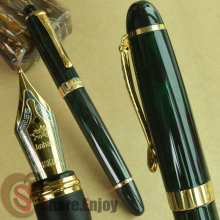 NEW JINHAO X450 DARK GREEN AND GOLDEN FOUNTAIN PEN 18 KGP 0.7mm BROAD NIB PURPLE WINE BLUE RED 20 COLORS AND INK  JINHAO 450