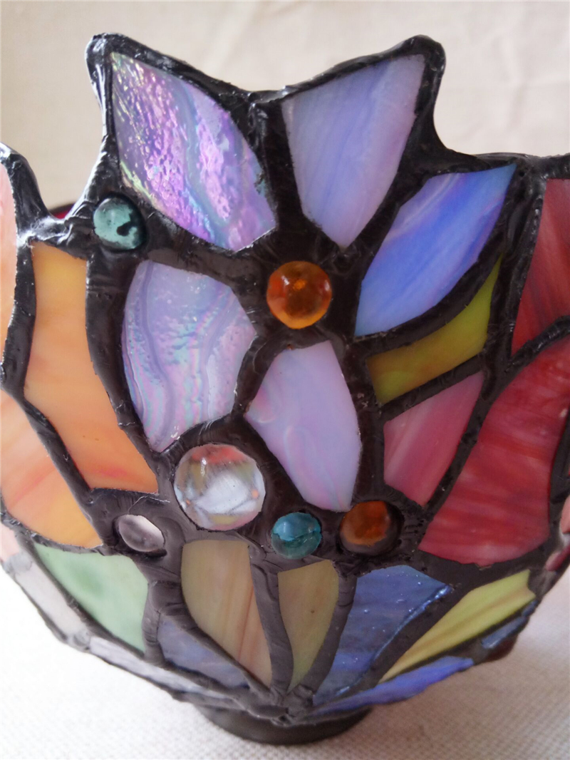 stained glass rose lamp